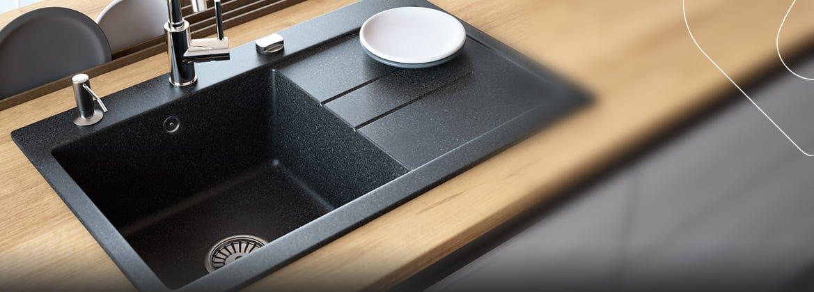 Küchenspülen mit Abtropffläche aus Granit